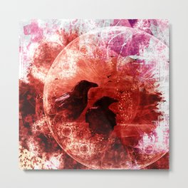 Red Abstract Raven Fractal Fantasy Metal Print