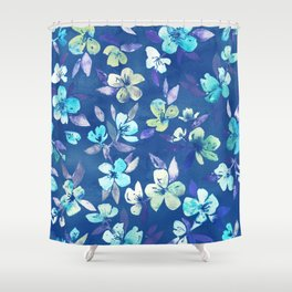 Grown Up Betty - blue watercolor floral Shower Curtain