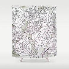 Floral Doodles in Gray Shower Curtain