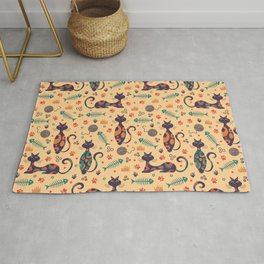 Psychedelic Cat Seamless Pattern Rug