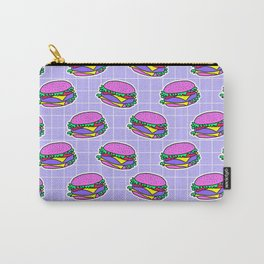 Psychedelic burger / Blue Grid Carry-All Pouch