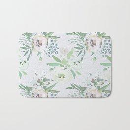 Blush pink white green watercolor modern floral berries pattern Bath Mat