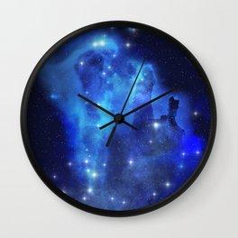 Blue Space Cloud Wall Clock