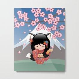 Japanese Kitsune Kokeshi Doll Metal Print