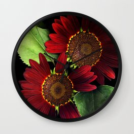 Fire Ring Sunflowers, Flower Scanography Wall Clock