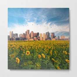 Boston Massachusetts Skyline and Sunflower Field Metal Print