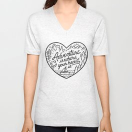 Adventure is where your heart is Unisex V-Neck