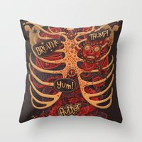 study Throw Pillows featuring Anatomical Study - Day of the Dead Style by Steve Simpson