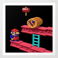 donkey kong Art Prints featuring Inside Donkey Kong by Metin Seven