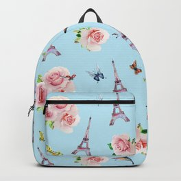 Pattern Paris and roses flowers watercolor Backpack