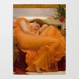 Flaming June Oil Painting by Frederic Lord Leighton Poster
