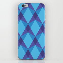 Complex interlocking hexagon and diamond pattern (blue) iPhone Skin