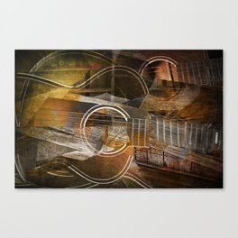 Abstract Cubist Style Guitar Canvas Print