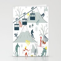 ski Stationery Cards featuring SKI LIFTS by BLUE VELVET DESIGNS