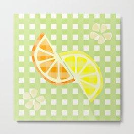 Citrus & Gingham - Lemon & Orange Metal Print