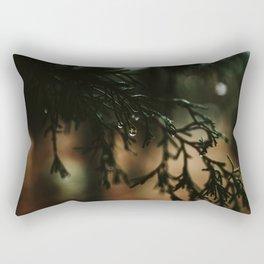 Water Drops from Winter Fir Branch Rectangular Pillow