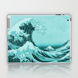 Aqua Blue Japanese Great Wave off Kanagawa by Hokusai Laptop & iPad Skin