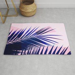 Indigo Palm Leaves on Pink Pastel Geometry #tropical #decor #lifestyle Rug