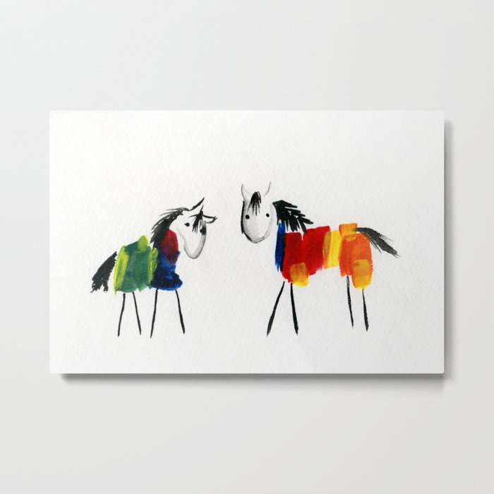 Little Rainbow Ponies Metal Print