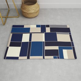 Blue abstract city Rug