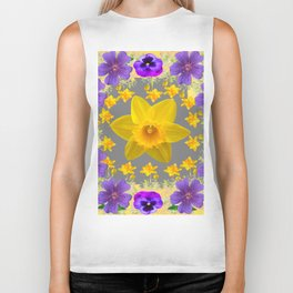 SPRING PURPLE  FLOWERS DAFFODIL ART DESIGN Biker Tank