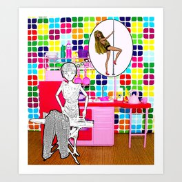 Barbie Dreams Of A More Colourful Life! Housewife Humour! Art Print