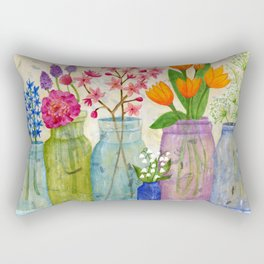 Springs Flowers in Old Jars Rectangular Pillow