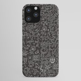 Doodles Homage to Keith Haring Black iPhone Case