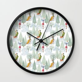 Whimiscal Animals Decorate The Christmas Tree In Winter Forest Wall Clock
