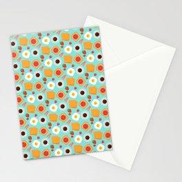 Cute Breakfast Food Pattern Bacon & Egg Stationery Cards