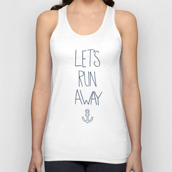 Let's Run Away: Sandy Beach, Hawaii Unisex Tank Top