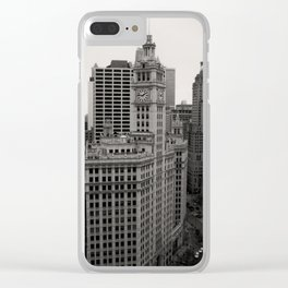 Wrigley Building Chicago Black and White Photo Clear iPhone Case