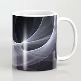 Fractal Wave Abstract Lines Purple White Teal on Black Coffee Mug