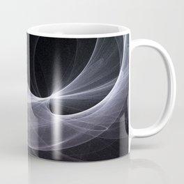 Fractal Wave Abstract Lines Purple White Teal on Black Coffee Mug