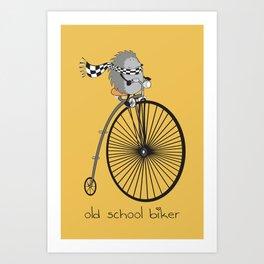 old school biker Art Print