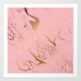 Liquid marble texture design, pink and gold Art Print