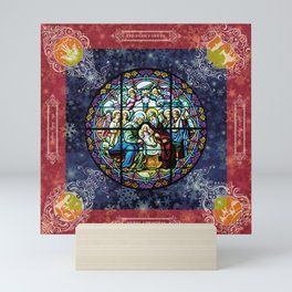Christmas Square: stained glass Mini Art Print