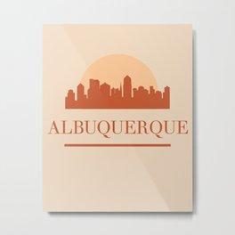 ALBUQUERQUE NEW MEXICO CITY SKYLINE EARTH TONES Metal Print