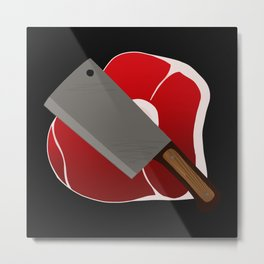 Knife and steak Metal Print