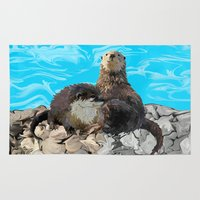 otters Area & Throw Rugs featuring Where the River Meets the Sea Otters by Distortion Art