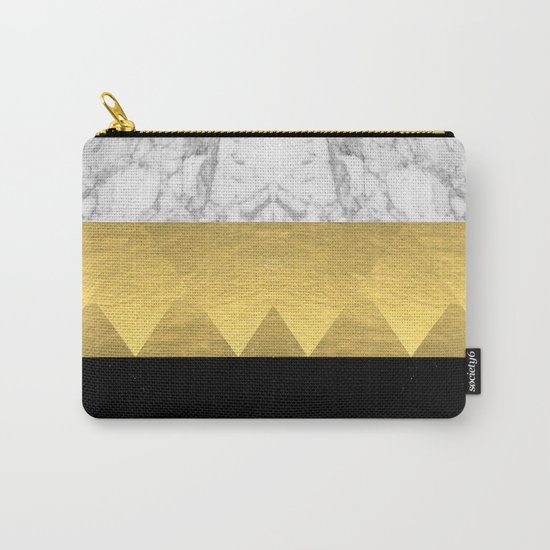 Stacked - gold foil black and marble cell phone case golden urban minimal retro modern city hipster  Carry-All Pouch
