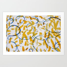 abstract paint pattern blue circle Art Print