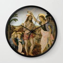 "Andrea del Verrocchio andd Leonardo da Vinci ""Baptism of Christ"" Wall Clock"