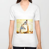 giraffes V-neck T-shirts featuring Giraffes by Eric Bassika