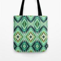 green pattern Tote Bags featuring Pattern green  by Christine baessler