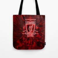 liverpool Tote Bags featuring LIVERPOOL LOVER by Acus