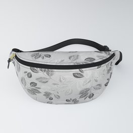 Black and White Leaves Pattern #2 Fanny Pack