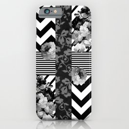 Trendy Black and White Floral Lace Stripes Chevron iPhone Case