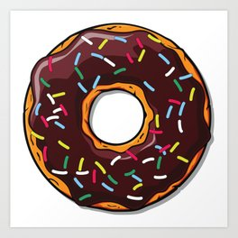 Chololate Donut with Sprinkles - Brown Blue Yellow Art Print