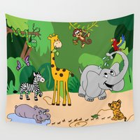 jungle Wall Tapestries featuring JUNGLE by Rebecca Bear